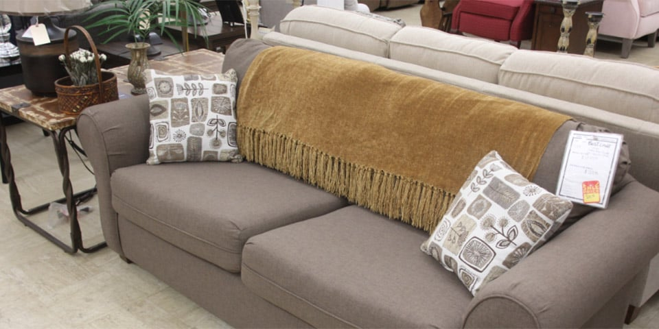 Living room sofa set, gray, with end table, matching throw pillows