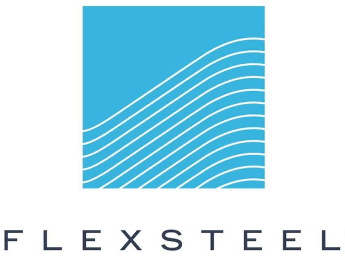 The logo of Flexsteel. A medium blue square with rows of white curved lines in its lower two-thirds, with the word Flexstell in black block capitals below it.