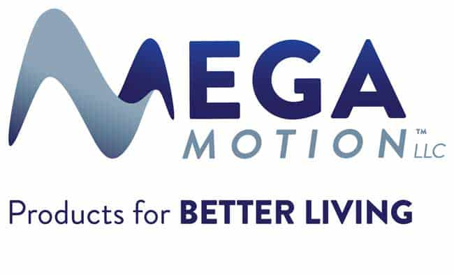 The logo for Mega Motion Furniture. The words Mega Motion LLC are seen in dark and medium blues, with the M in Mega styled like a sine wave. The tagline Products for better living is in dark blue.