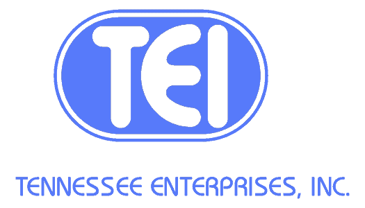 The logo of Tennessee Enterprises, Inc. The Letters TEI are in white inside a medium blue oval, with Tennessee Enterprises, Inc below in the same medium blue.