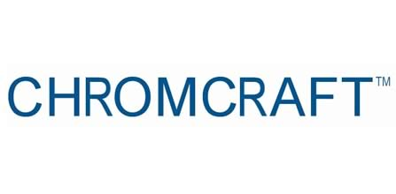 The ChromCraft logo. The word Chromcraft is seen in dark blue in all capitals on a white background