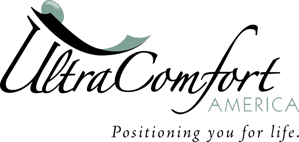 "The Ultra Comfort logo. Black lettering reads ""Ultra Comfort America"" in black and light teal, and the tagline Positioning you for life is in black."